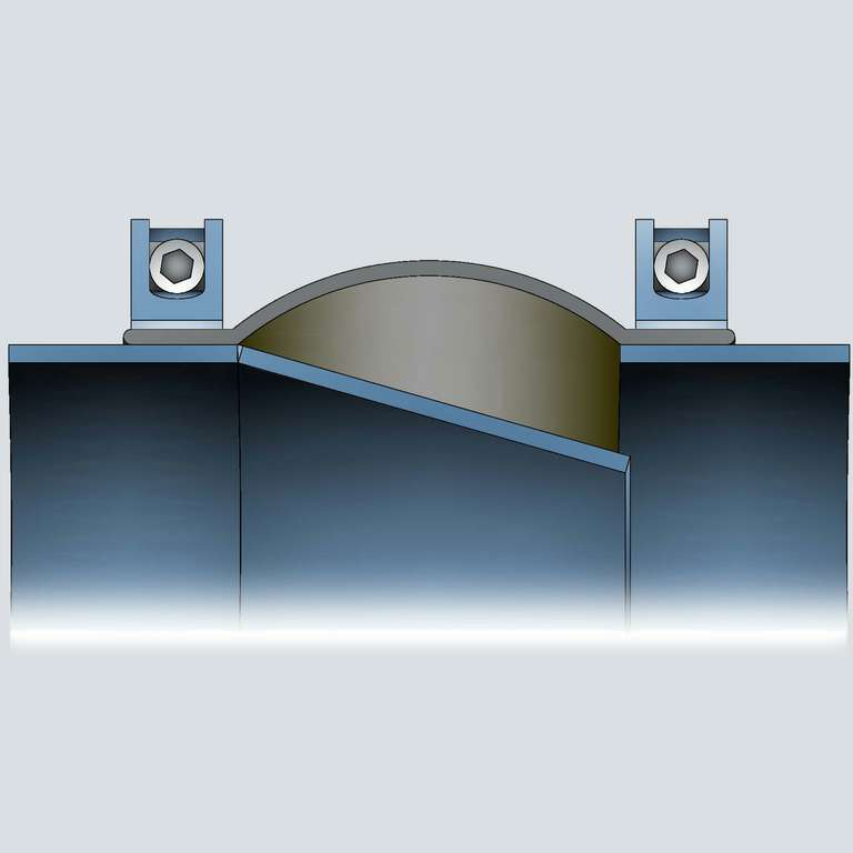 P-Flanges with single sleeve and clamping bands